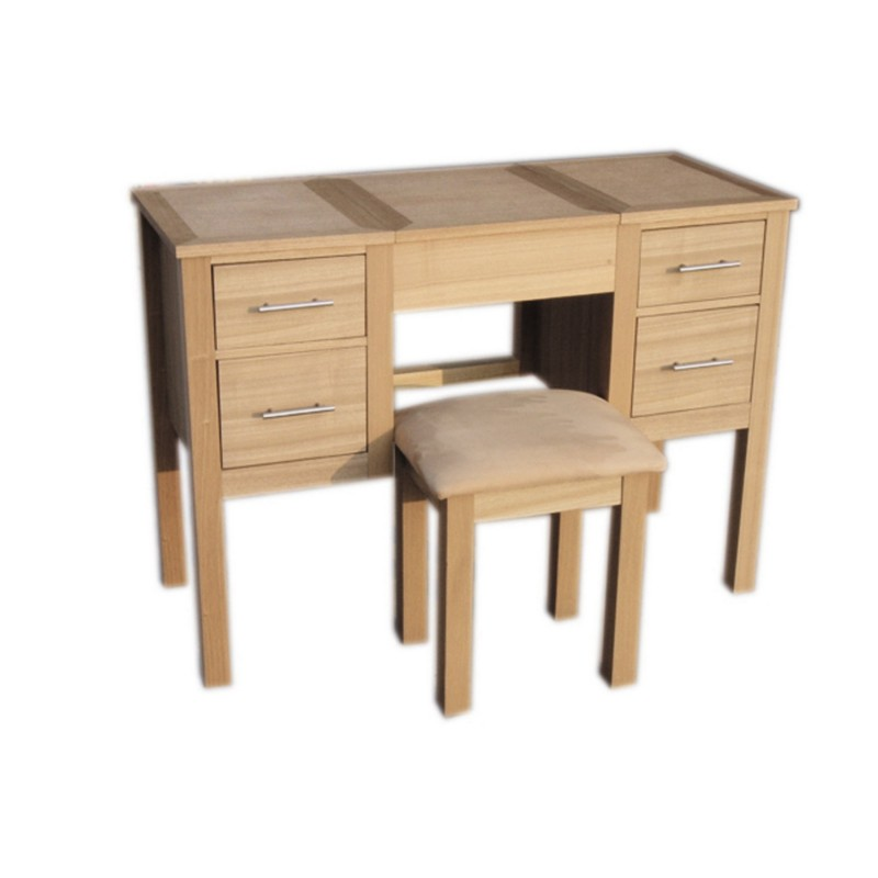 Oakridge dressing table stool includes folding mirror