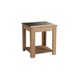 Ashleigh End Table, Black Glass Centre Stip, Ash Veneers