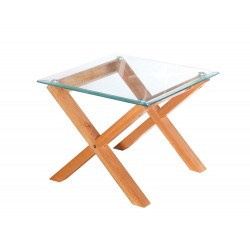 Cadiz End/Lamp Table, Solid Oak Legs, Metal Disc Fastening, Bevelled Edge Glass