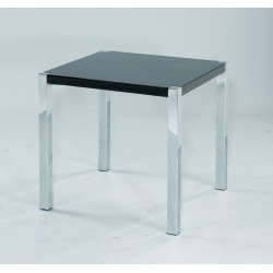 Novello End Table, Chrome Legs, Modern Style, High Gloss Black