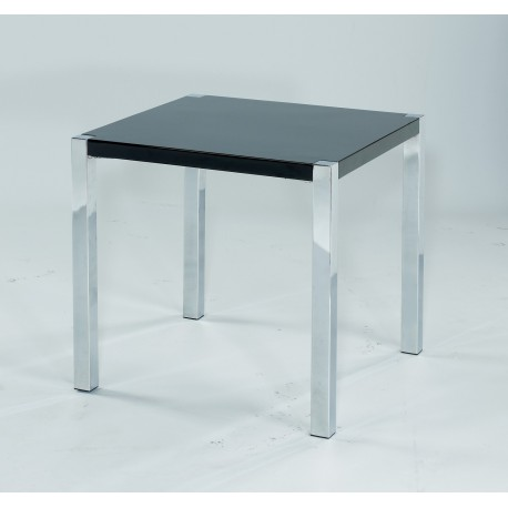 Novello End Table, Chrome Legs, Modern Style, High Gloss Black