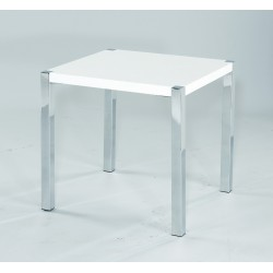 Novello End Table, Chrome Legs, Modern Style, High Gloss White