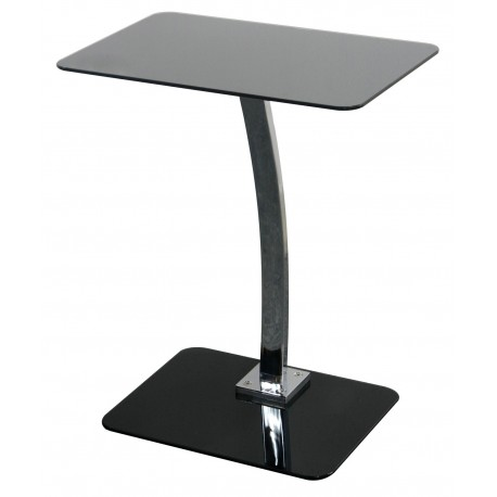 Neo Laptop Table, Black Glass Top, Chorme Detail