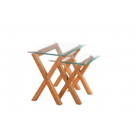 Cadiz Nest of 2 Tables, Solid Oak Legs, Metal Disc Fastening, Bevelled Edge Glass