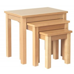 Oakridge Nest Of 3 Tables, Real Ash Veneer With Oak Finish, Suits Any Style