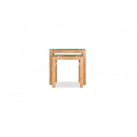 Tribeca Solid Oak Range Nest of 2 Tables with some Vaneers