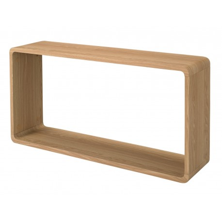 Curve Wall Shelf, Oak Finish, Smoothed Curved Corners