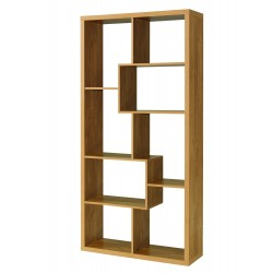 Qubec Shelving Display Unit, Abstract Looking, Oak Finish