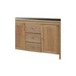 Ashleigh Ash SIdeboard, 3 Drawers, 2 Doors, Black Glass Centre Stip
