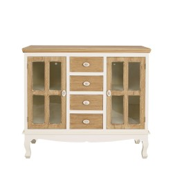 Juliette Sideboard, 2 Glass Doors, 4 Drawers, Vintage Chic Style, Painted Finish, Solid Pine Wood, MDF