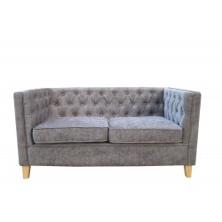 York Chenille Style Grey Fabric 2 Seater Sofa
