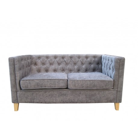 York Chenille Style Grey Fabric 2 Seater Sofa