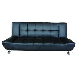 Vogue Contemporary Sofa Bed in Black Faux Leather