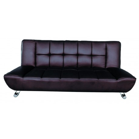 Vogue Contemporary Sofa Bed in Brown Faux Leather