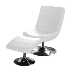 Vegas Easy Chair iin White Faux Leather and Chrome Base with Stool