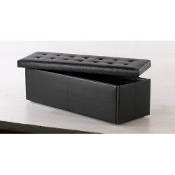 Amalfi Ottoman, Storage Box, Toy Box, Blanket Box Black Faux Leather