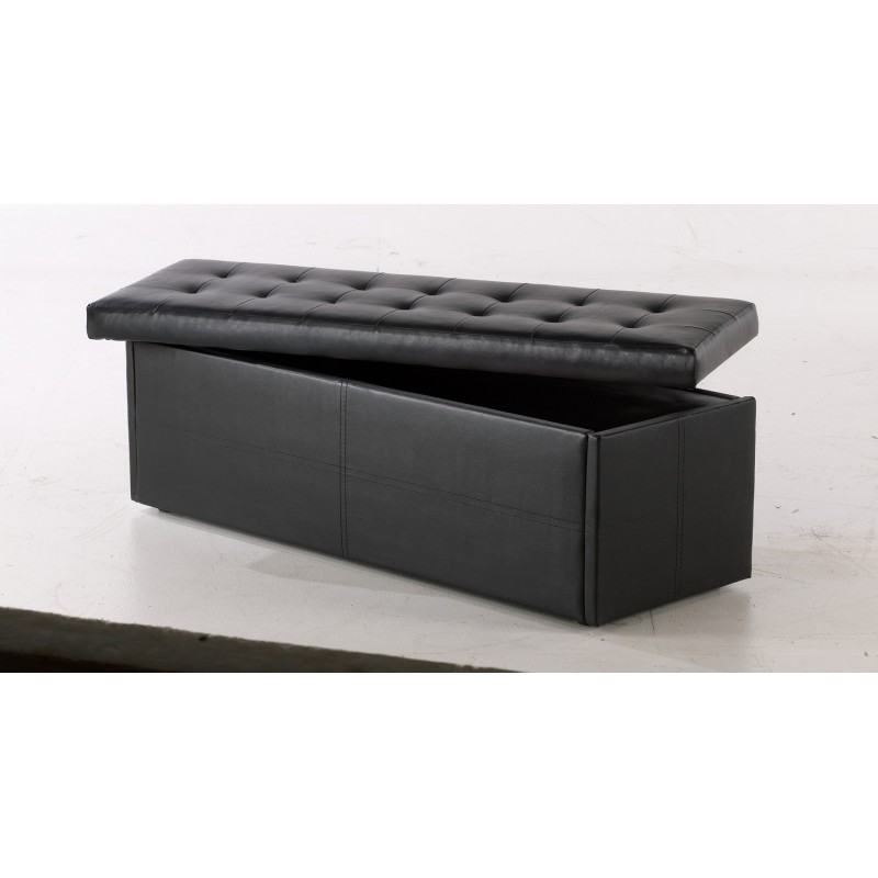 Amalfi Ottoman, Storage Box, Toy Box, Blanket Box Black Faux Leather.  Loading Zoom
