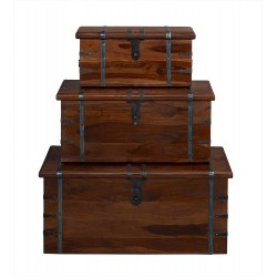 Darjeeling Set Of 3 Storage Trunks, SolidSheesham Wood