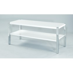 Novello TV Unit/Stand, Chrome Legs, Modern Style, High Gloss White