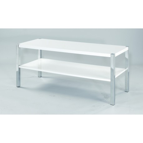 Novello TV Unit/Stand, Chrome Legs, Modern Style, High Gloss White