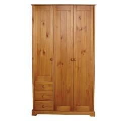 Baltic Wardrobe 3 Door + 3 Drawer With Hanging Rail, Antique Pine Finish