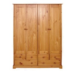 Baltic 4 Door Wardrobe + 6 Drawers, Hanging Rail, Contemporary Style, Antique Pine Finish