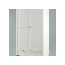 Boston 2 Door Wardrobe, 1 Drawer, Internal Shelf, Eye Catchy Ash Tops And Trims
