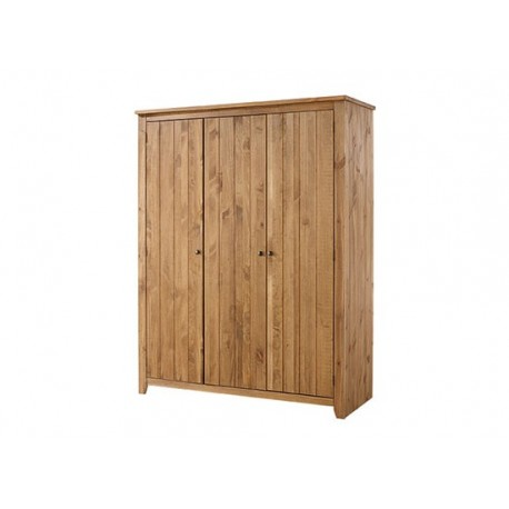 Havana 3 Door Wardrobe, 3 Internal Shelves, Solid Pine Wood, Classic Colour Tones