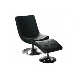 Vegas Easy Chair iin Black Faux Leather and Chrome Base with Stool