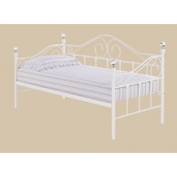 Florence Trundle Bed, White Metal Finish, Crystal Finials