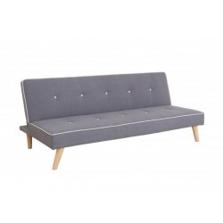 Parker Sofa Bed, Stylish Grey Fabirc, Beige Button Detail, Natural Wood Legs