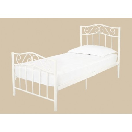 "Zeta Double 4ft6"" Size Metal Bed Frame in White"