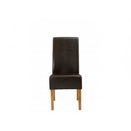 Padstow 2 Chairs, Brown Faux Leather, Solid Wood Legs