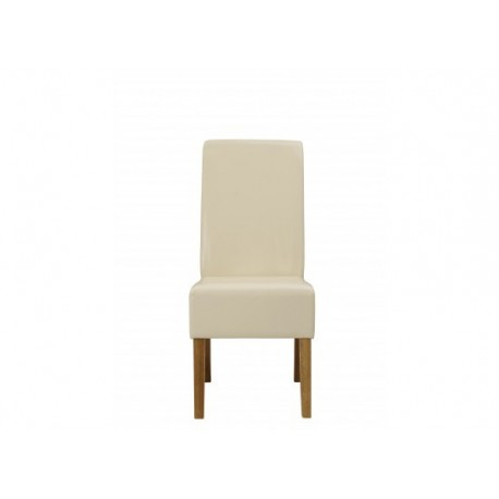 Padstow 2 Chairs, Cream Faux Leather, Solid Wood Legs