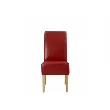 Padstow 2 Chairs, Red Faux Leather, Solid Wood Legs
