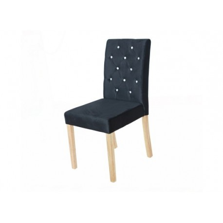 Paris 2 Dining Chairs, Diamante Detail, Black Velvet Fabric, Solid Wood Legs