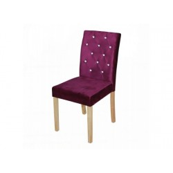 Paris 2 Dining Chairs, Diamante Detail, Purple Velvet Fabric, Solid Wood Legs