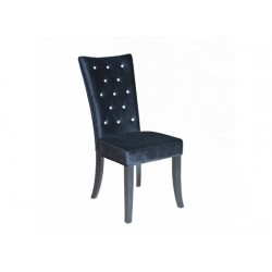 Radiance 2 Dining Chairs, Diamante Detail, Black Velvet Fabric, Solid Wood Legs In Black Finish