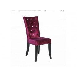 Radiance 2 Dining Chairs, Diamante Detail, Purple Velvet Fabric, Solid Wood Legs In Black Finish