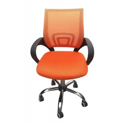 Tate Mesh Back Office Chair Orange, Adjustable Seat with Chrome Finish