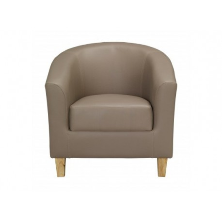 Stylish Tub Chair In Taupe Faux Leather