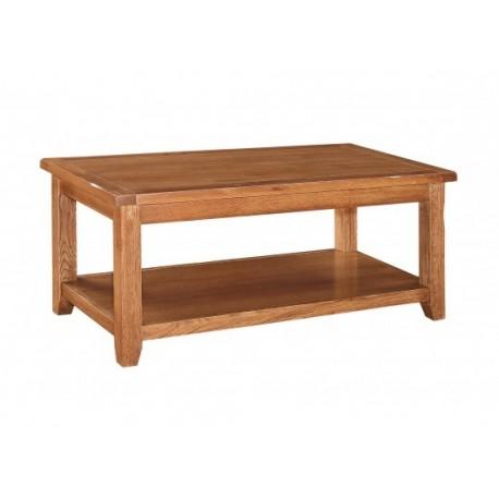 Dorset Coffee Table, Rounded Corners, Storage Shelf, Oak Veneers & American White Oak