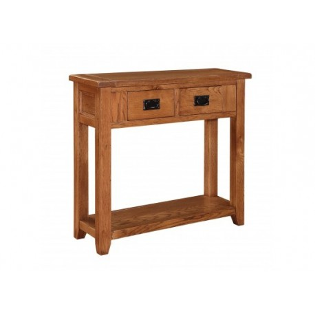 Dorset 2 Drawer Console Table, Drop Down Handles, Rounded Corners, American White Oak