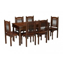 Darjeeling Large Dining Set, 4 Solid Chairs, Sheesham Wood