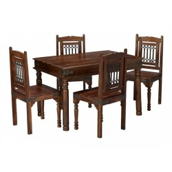 Darjeeling Medium Dining Set, 4 Solid Chairs, Sheersham Wood