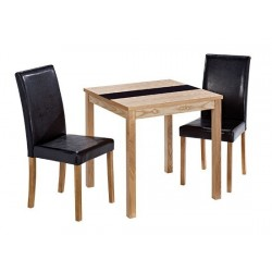 Ashleigh Dining Set Small, 2 Black Leather Chairs, Black Galss Centre Strip, Ash Veneers