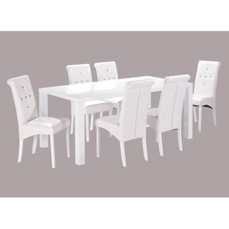 Monroe Large Dining Table, High Gloss White