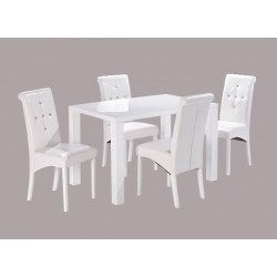 Monroe Medium Dining Table, High Gloss White