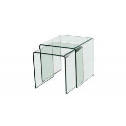 Azurro Glass Nest Of 2 Tables, Sleek And Contemporary, Gently Curved Edges
