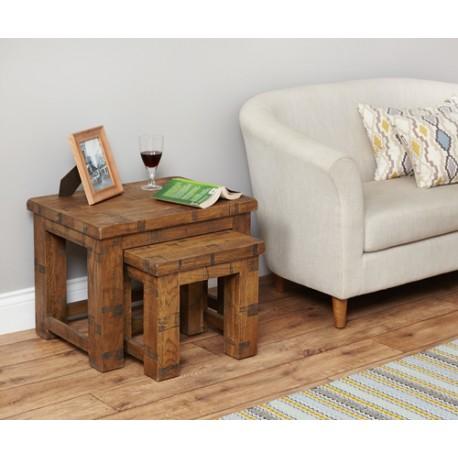 Heyford Rough Sawn Oak Nest of 2 Coffee Tables